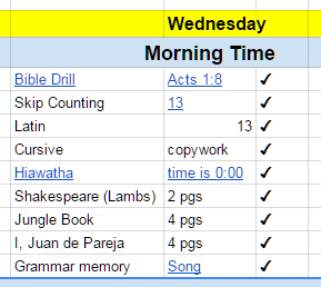 Google Sheet: Planner Screenshot Showing Part of Our Morning Time