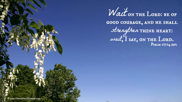Wait on the Lord: be of good courage, and he shall strengthen thine heart: wait, I say, on the Lord. Psalm 27:14 (KJV)